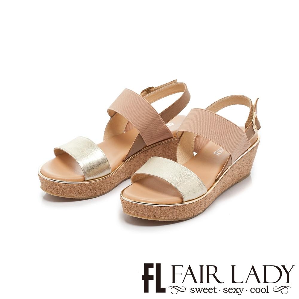 FAIR LADY 盛夏 盛夏 異材質配色寬帶楔型涼鞋 金