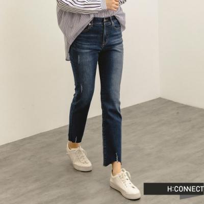 H:CONNECT 韓國品牌 女裝 -自然刷破微彈Straight牛仔褲-深藍色