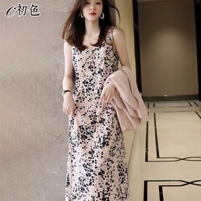 初色  吊帶碎花連身裙-粉色-(M-XL可選)