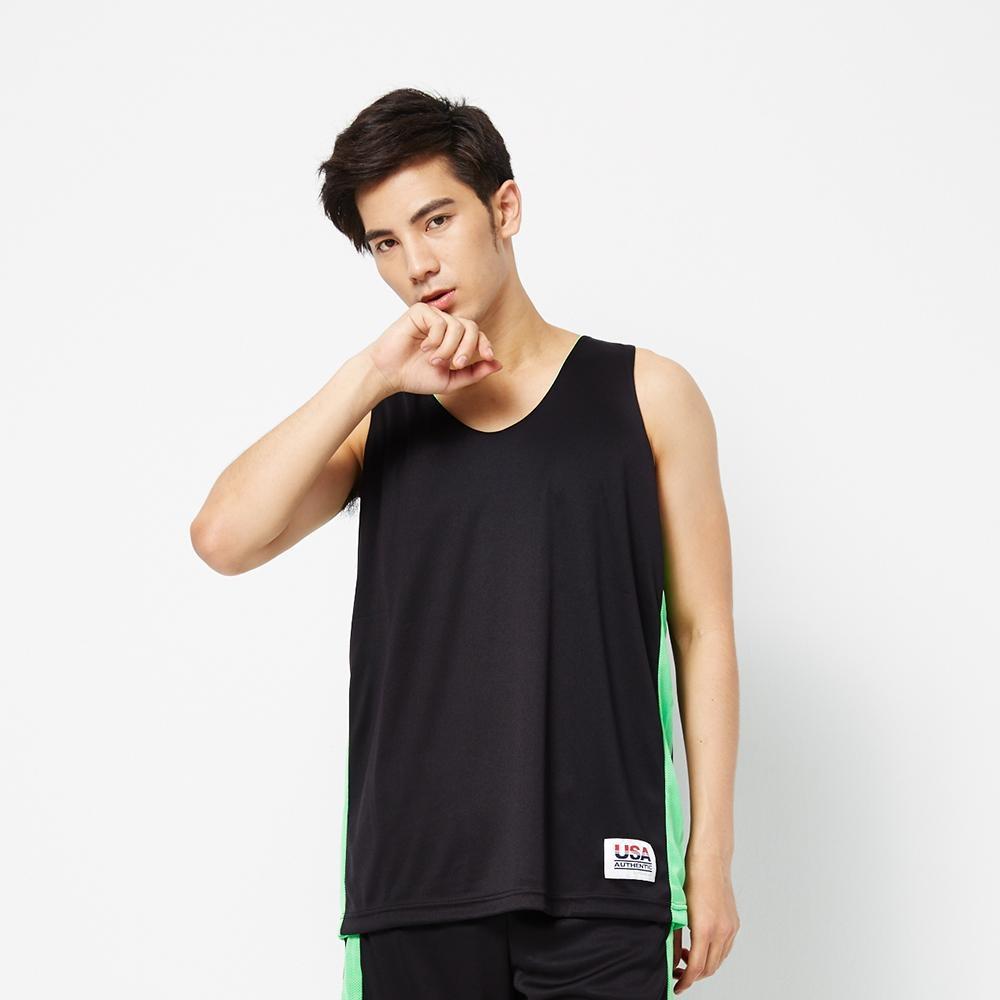 【FIVE UP】男款雙面穿吸濕排汗籃球背心-黑