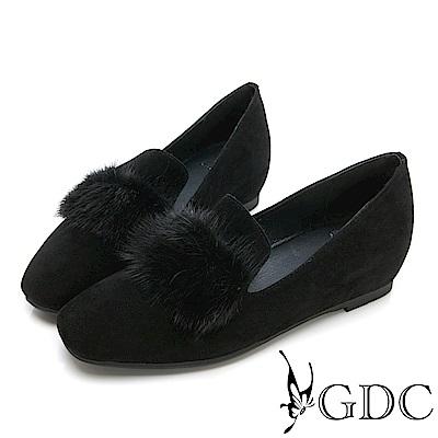 GDC-秋冬小奢華名媛貂毛微方頭內增高包鞋-黑色