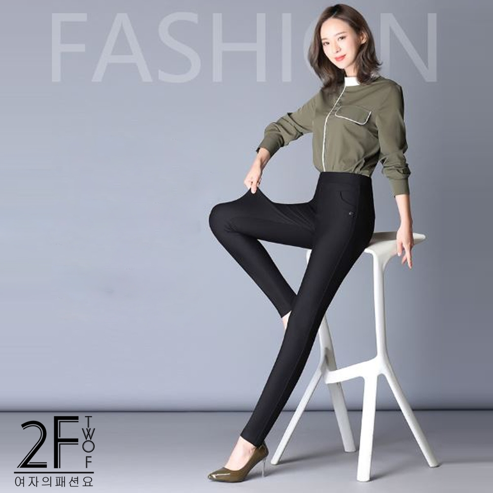 2F韓衣-台灣製 完美比例超彈力修身色褲5色(M-3XL)