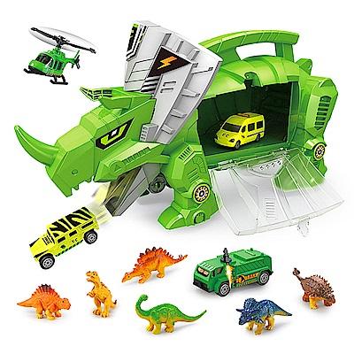 恐龍世界 恐龍收納車 內附6種恐龍與4台小車 9917