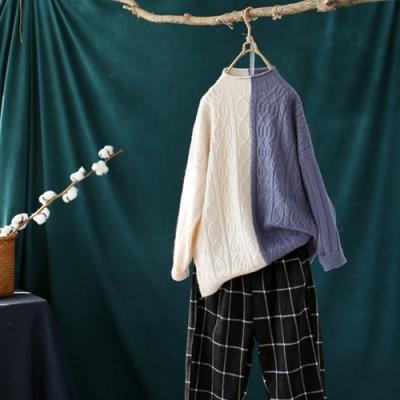 撞色拼接螺紋開叉捲邊半高領針織衫寬鬆內搭毛衣-設計所在