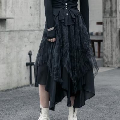 設計所在Style-暗黑風歐根紗捏皺蓬蓬裙小黑裙長裙