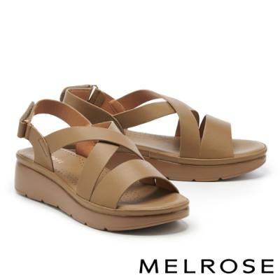 涼鞋 MELROSE 簡約低調交叉寬帶楔型涼鞋-綠