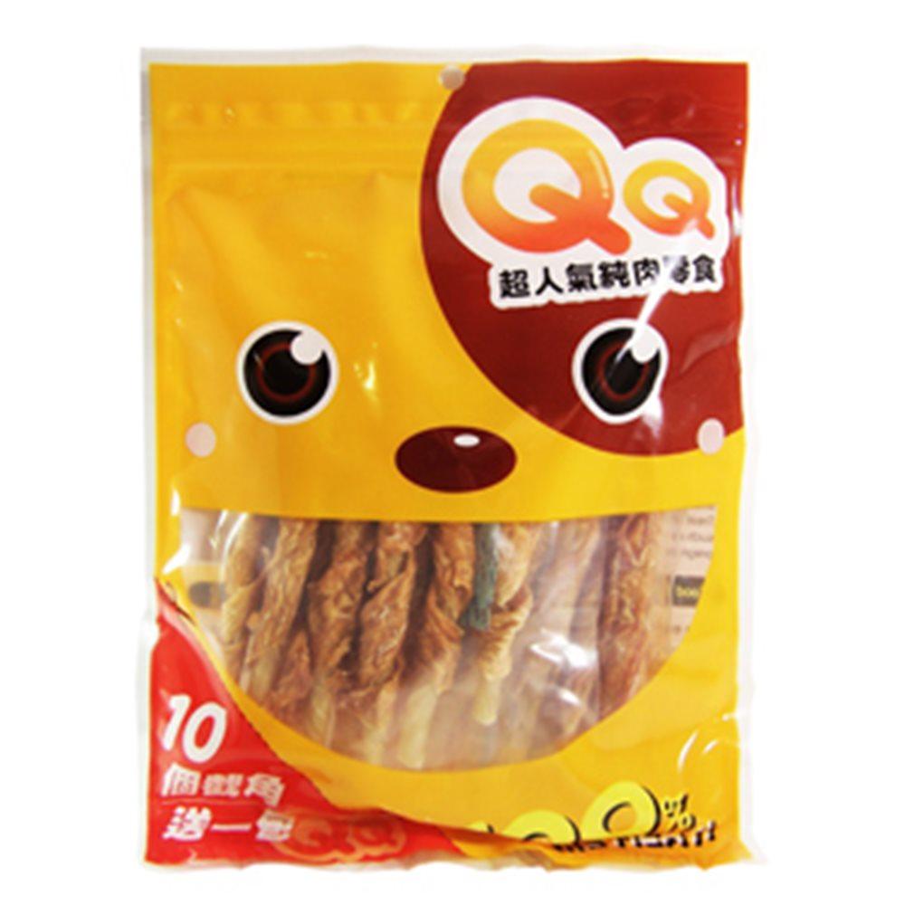 【任選】QQ 超人氣純肉零食 牛皮雞肉捲 160G