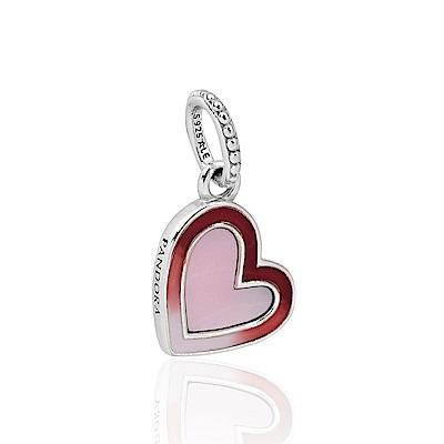 Pandora 潘朵拉 魅力不對襯琺瑯刻字愛心 垂墜純銀墜飾