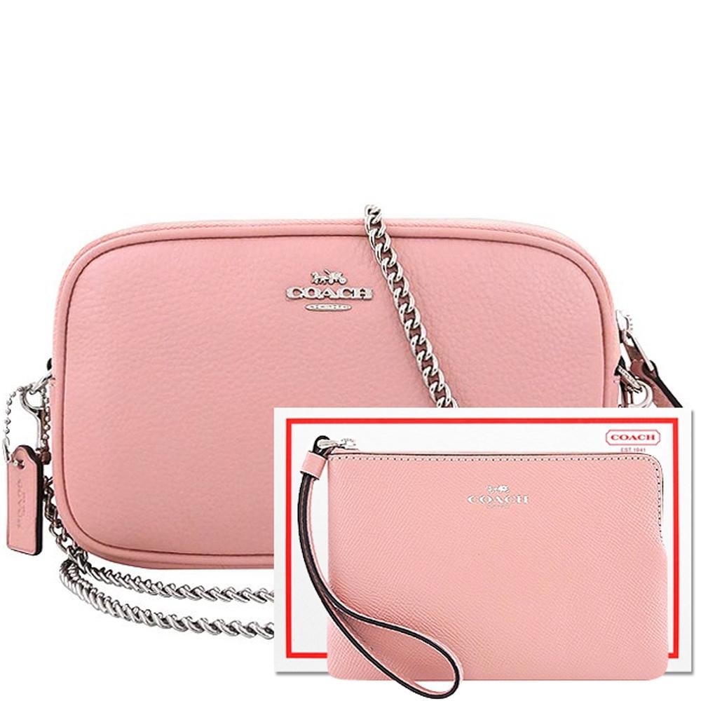 【限量20組】COACH 櫻花粉色荔枝紋皮革鍊帶雙層斜背包+櫻花粉色防刮皮革手拿包