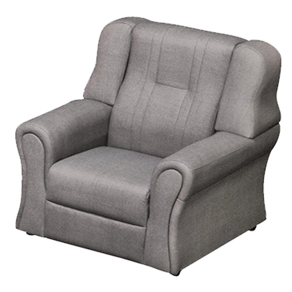 綠活居 雷凱時尚灰亞麻耐磨皮革單人座沙發椅-87x84x88cm免組