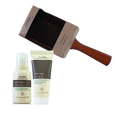 AVEDA 復原配方洗髮精50ml+復原配方潤髮乳40ml+木質髮梳一把