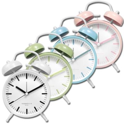 4吋 居家擺飾 雙鈴 超大鈴聲 北歐 辦公桌 桌上型 鬧鐘 時鐘 - 白/綠/藍/粉