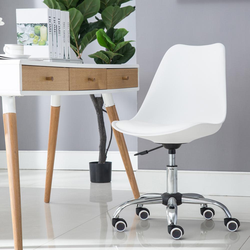 E-home EMSM北歐經典造型軟墊電腦椅 白色