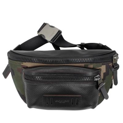COACH軍綠迷彩紋拼接真皮前拉鍊袋半圓男款腰包
