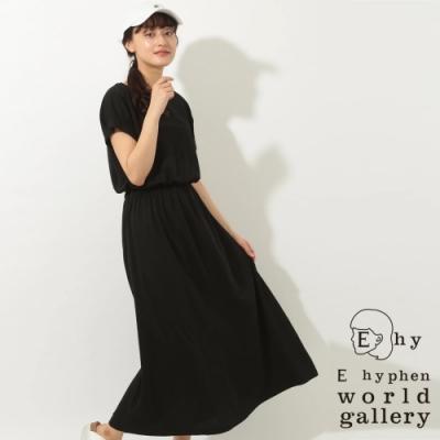 E hyphen 法式袖高腰抓皺連身洋裝