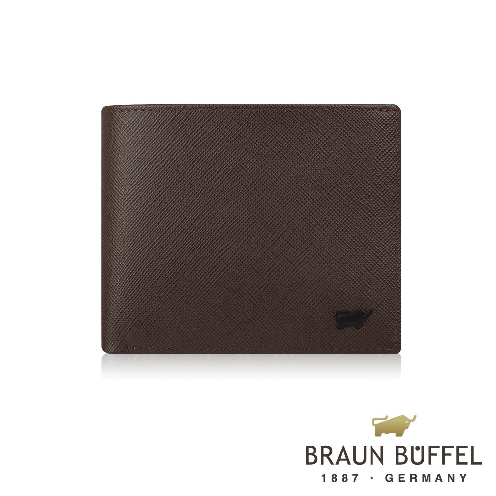 BRAUN BUFFEL 德國小金牛 - 洛菲諾P系列8卡中間翻窗格零錢皮夾 - 咖黑