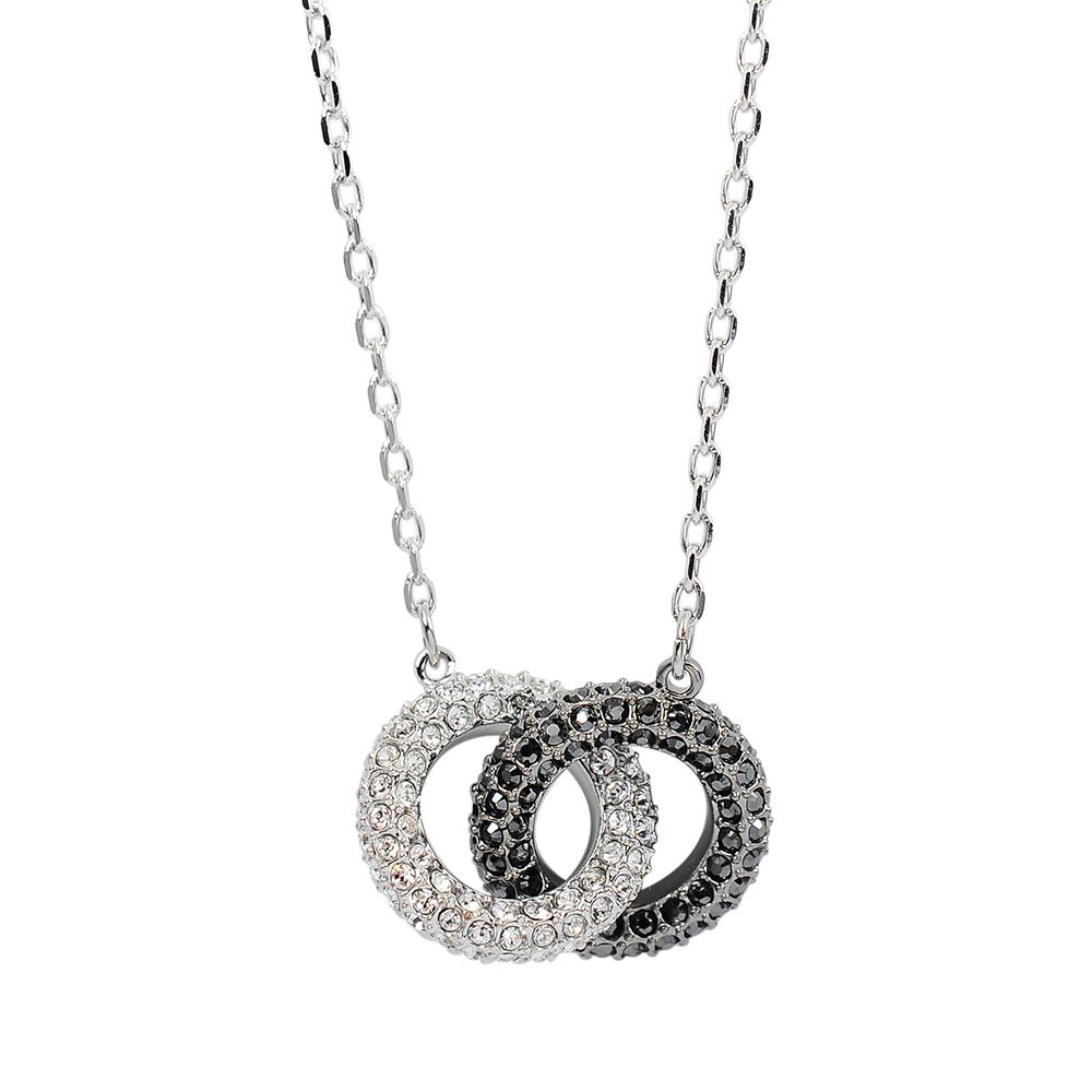 SWAROVSKI 施華洛世奇 Stone璀璨黑白水晶雙環項鍊