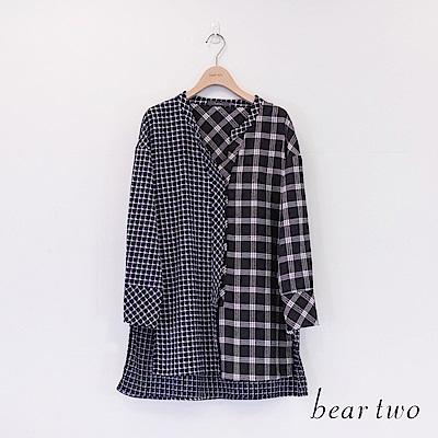 beartwo 不規則格紋拼接休閒造型襯衫(二色)