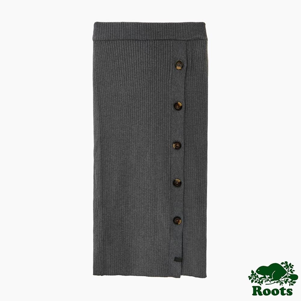 Roots 女裝- 摩登週間系列 鈕扣針織長裙-灰色