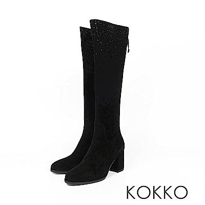 KOKKO逆天美腿滿天星麂皮高跟長靴霧面黑