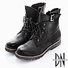 DN 中性風格 綁帶美式拉鍊軍短靴-黑