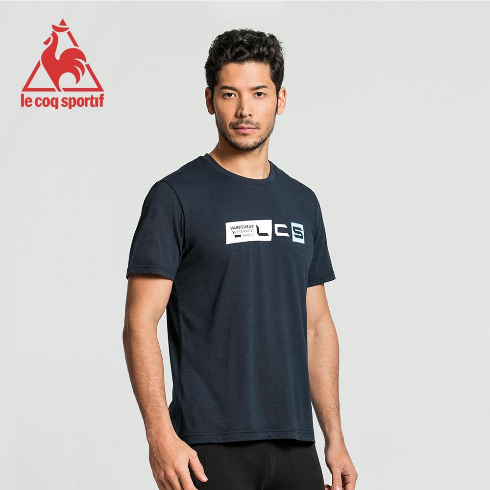 le coq sportif 法國公雞牌前胸潮流設計圓領短袖T恤 男-丈青