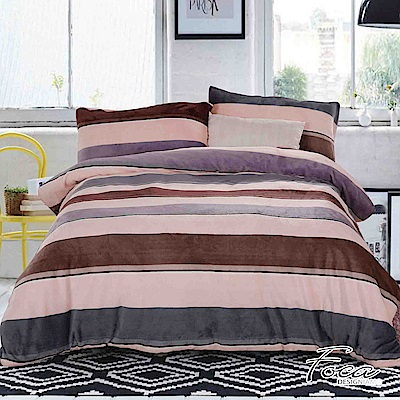 FOCA簡約  雙人-極緻保暖法萊絨四件式兩用毯被套床包組
