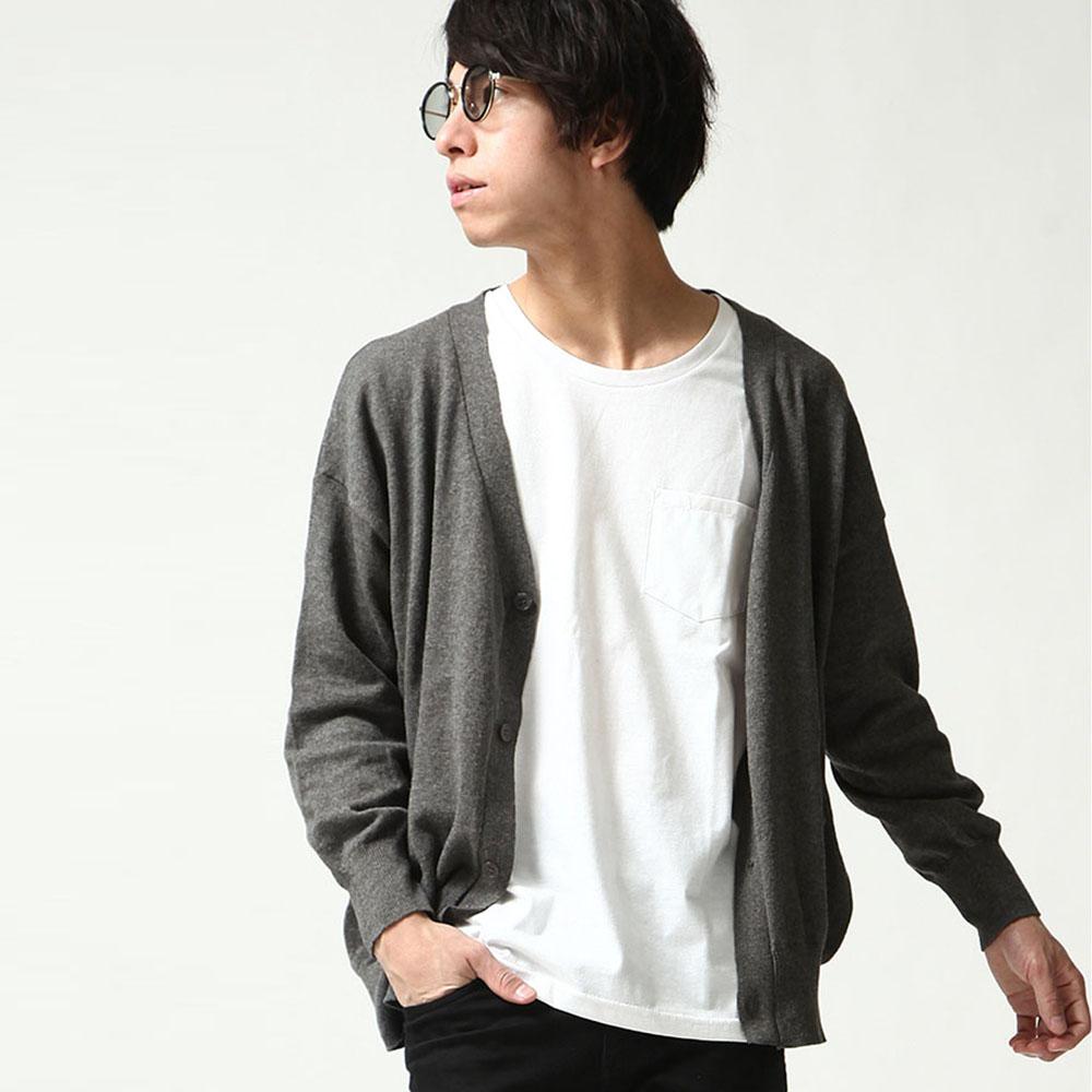 開襟外套繭型素色長袖(11色) ZIP日本男裝