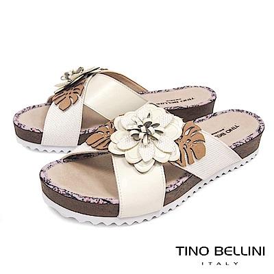 Tino Bellini 巴西進口多層次立體繁花厚底涼拖鞋 _ 米白
