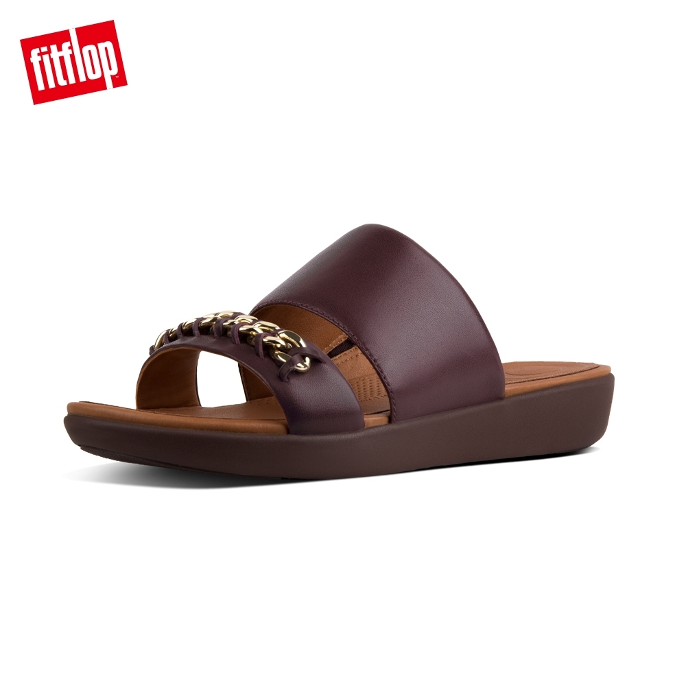 FitFlop DELTA CHAIN LEATHER SLIDES涼拖鞋 深梅色