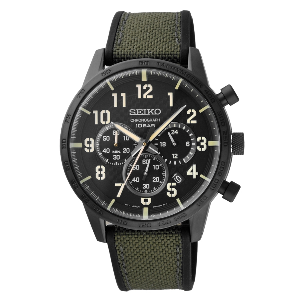 SEIKO 運動時尚魅力腕錶-綠X黑(SSB369P1)/45mm