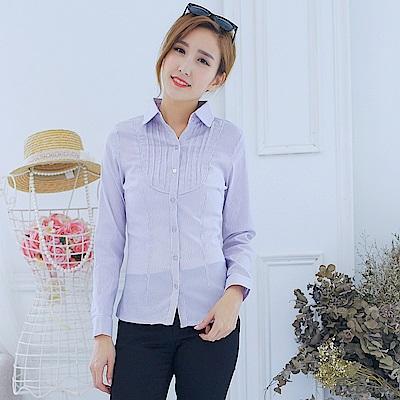 EELADY大尺碼-胸襟壓皺長袖條紋襯衫