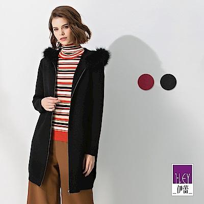 ILEY伊蕾 拉鍊造型連帽狐狸毛領長版針織外套(黑/紅)