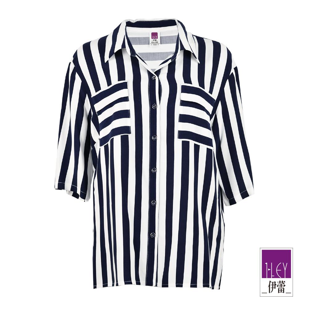 ILEY伊蕾 100%縲縈七分袖條紋上衣(藍)