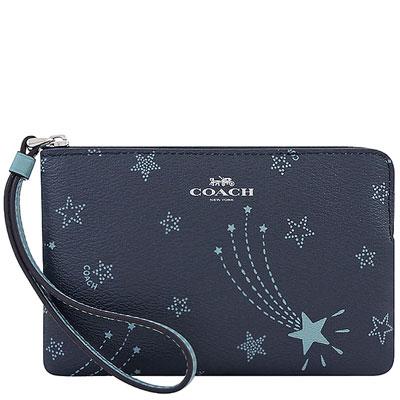 COACH 星夜藍色星星圖樣PVC手拿包