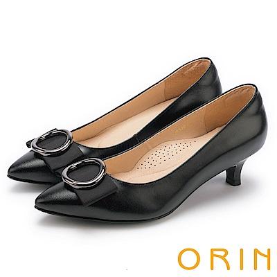 ORIN 時尚魅力 圓型飾扣優雅中跟鞋-黑色