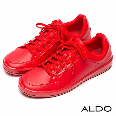 ALDO 原色亮面拼接幾何車線綁帶式厚底休閒男鞋~熱情紅色