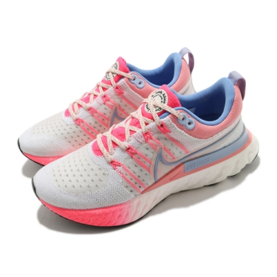 Nike 慢跑鞋 React Infinity Run 女鞋 輕量 透氣 舒適 避震 路跑 健身 米白 粉 DJ6055161