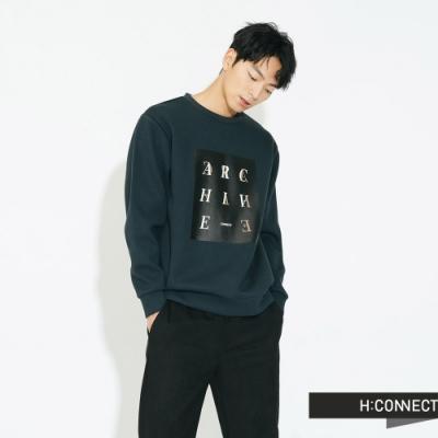 H:CONNECT 韓國品牌 男裝 - 特色字母圖印大學T - 深藍