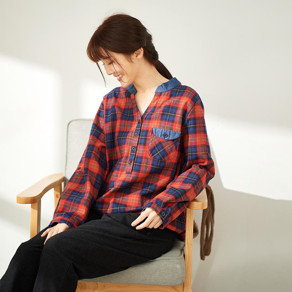 慢 生活 平織配色下襬抽繩上衣-紅色