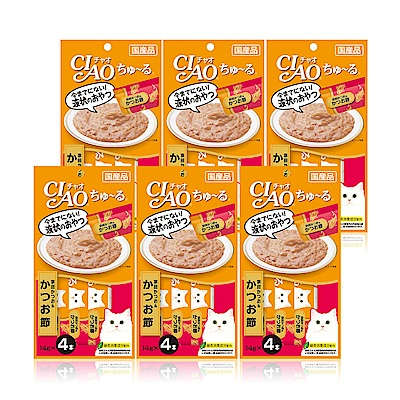 CIAO啾嚕肉泥(鰹魚+柴魚片)14g*4入(6袋/組)