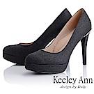 Keeley Ann 高雅出眾~雅緻寶石點綴真皮軟墊新娘晚宴高跟鞋(黑色)
