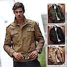 美國熊 潮男必備 徽章刺繡  修身顯瘦夾克外套