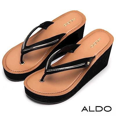 ALDO 原色V字佐金屬夾腳楔型跟涼鞋~尊爵黑色