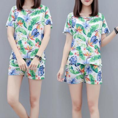 【韓國K.W.】(預購)唯美純淨印花休閒套裝褲-2色