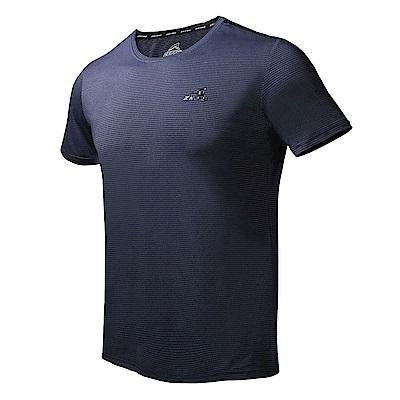 【ZEPRO】男子橫壓紋涼感運動短袖上衣-丈青