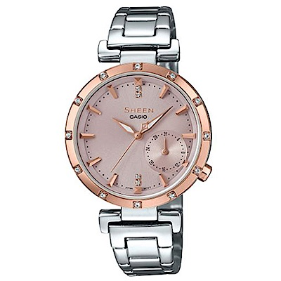 SHEEN優雅智慧簡約耀眼施華洛世奇指針腕錶(SHE-4051SG-4)蜜桃金框32mm