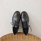 KEITH-WILL時尚鞋館 冬氛美式大軍雕花平底鞋-黑色