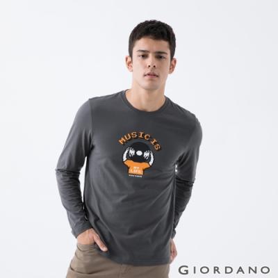 GIORDANO   男裝8Bit像素印花T恤 - 10 碳灰