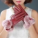 女士兔毛皮革觸屏觸控手套